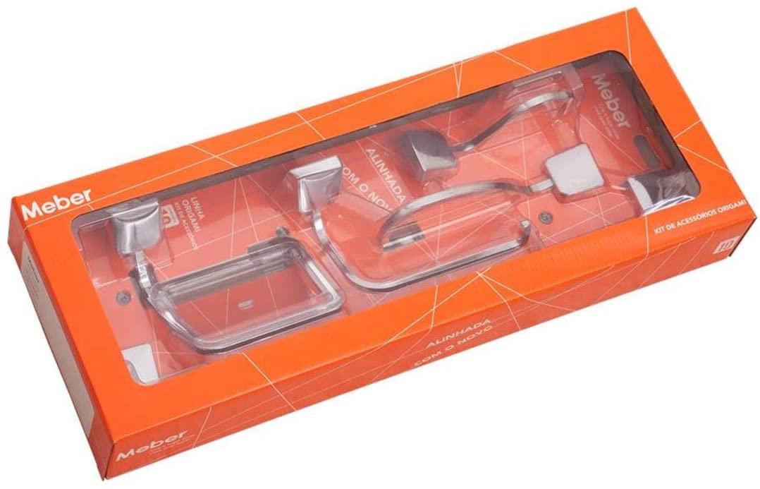 Kit Acessórios De Banheiro Origami C39 Meber 26770.4