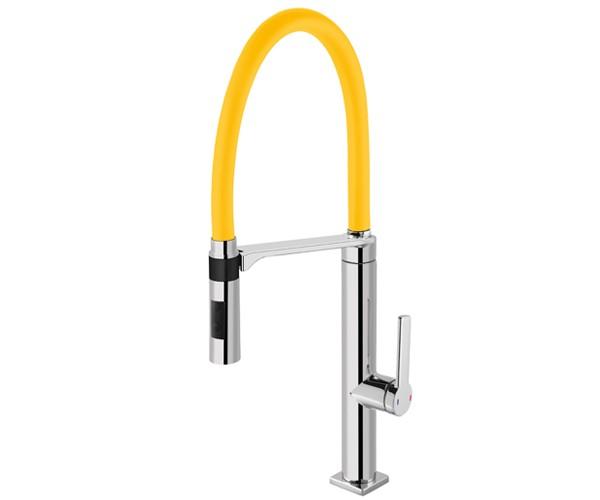Misturador Monocomando para Cozinha de Mesa Doc Chrome/Amarelo 00695778