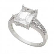 Anel com Cristal Quadrado e Pedras Zircônias Ródio Branco - Giro Semijoias