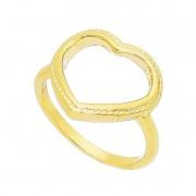 Anel Coração Vazado com Contorno Banho Ouro 18k - Giro Semijoias