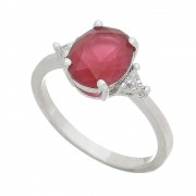 Anel Cristal Vermelho Triângulo Laterais Constantia - Banho Ródio Branco