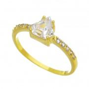 Anel com Pedra Formato Diamante Cravejado em Zircônias Folheado em Ouro 18k - Giro Semijoias