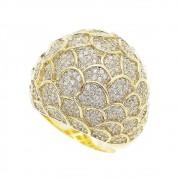 Anel Escama Cravejado de Pedra Zircônia Folheado em Ouro 18k - Giro Semijoias