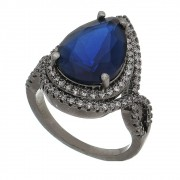 Anel Gota Cristal Azul e Contorno de Zircônias Unitas - Banho Ródio Negro