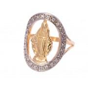 Anel Nossa Senhora das Graças Cravejado em Zircônias Folheado em Ouro 18k - Giro Semijoias