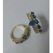 Anel Vazado C/ Cristais Azul e Zircônias Nemausa - Banho Ouro 18k