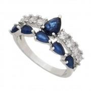 Anel Vazado C/ Cristal Azul e Zircônias Pierretta - Banho Ródio Branco