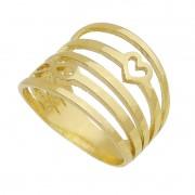 Anel Vazado de Coração com Infinito Folheado em Ouro 18k - Giro Semijoias