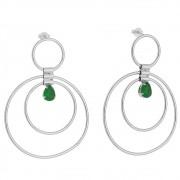 Brinco 3 Círculos e Gota Cristal Verde Ródio Branco - Giro Semijoias