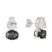 Brinco Pedra Cristal Gota Oval Preta Iclea - Banho Ródio Branco