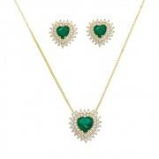 Conjunto coração  P de Fusion Verde C/ contorno de zircônia Ouro 18k- Giro Semijoias