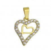 Pingente Coração C/ Zircônia C/ Coração Liso Dentro Ouro 18k-Giro Semijoias