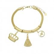 Pulseira Berloque Nossa Senhora Aparecida, Espírito Santo e Coroa Folheada em Ouro 18k - Giro Semijoias