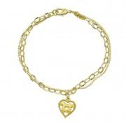 Pulseira Dupla com Coração Vazado Folheada em Ouro 18k - Giro Semijoias