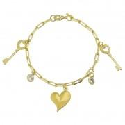 Pulseira Elo Cartier Com Pingente de Coração, Chave e Ponto de Luz em Zircônia Folheado em Ouro 18k - Giro Semijoias