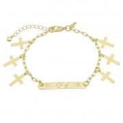 Pulseira Religiosa Elos Cartier Placa Fé e Cruz Folheada em Ouro 18k - Giro Semijoias