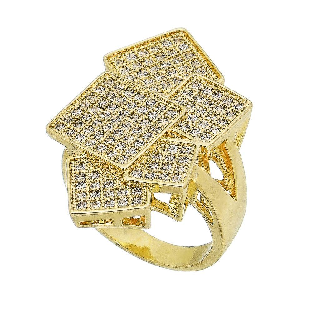 Anel 5 Quadrados Cravejado de Zircônia Incolor Alnitak - Banho Ouro 18k