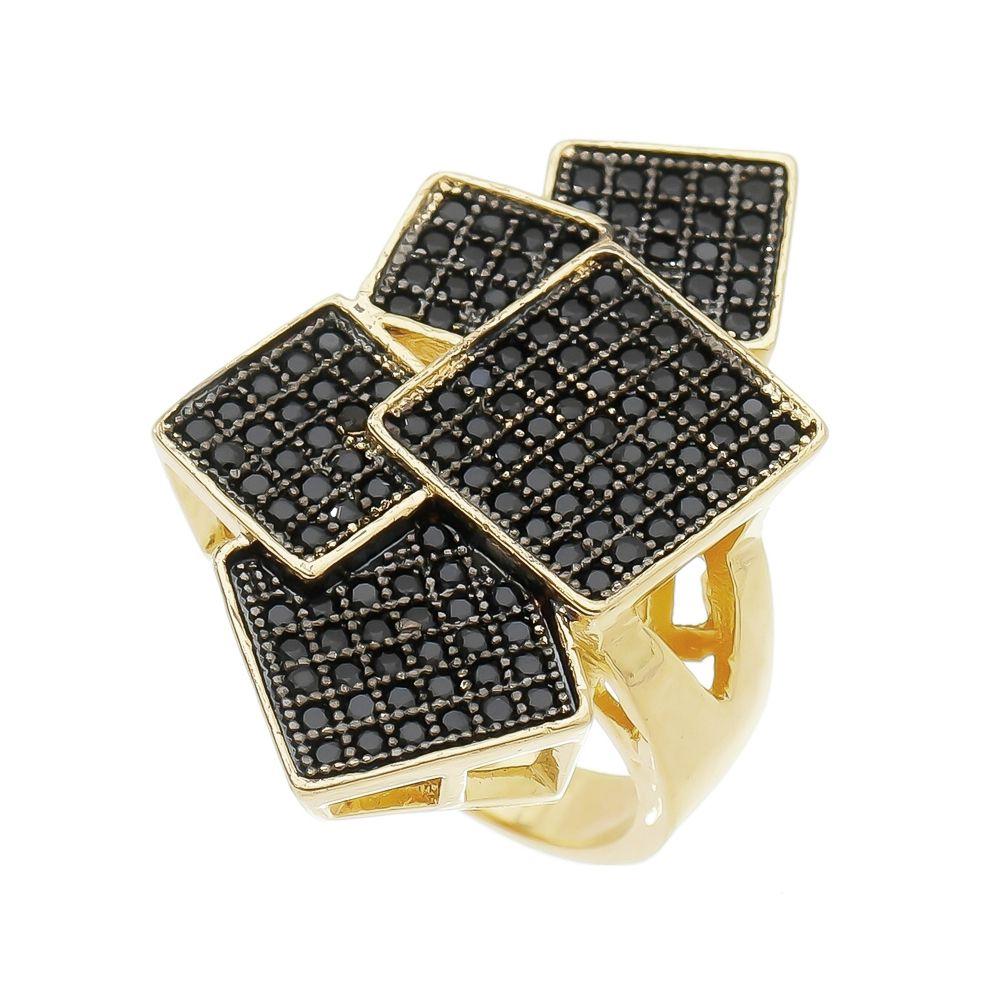 Anel 5 Quadradros Cravejado de Zircônia Negra Folheado em Ouro 18k - Giro Semijoias