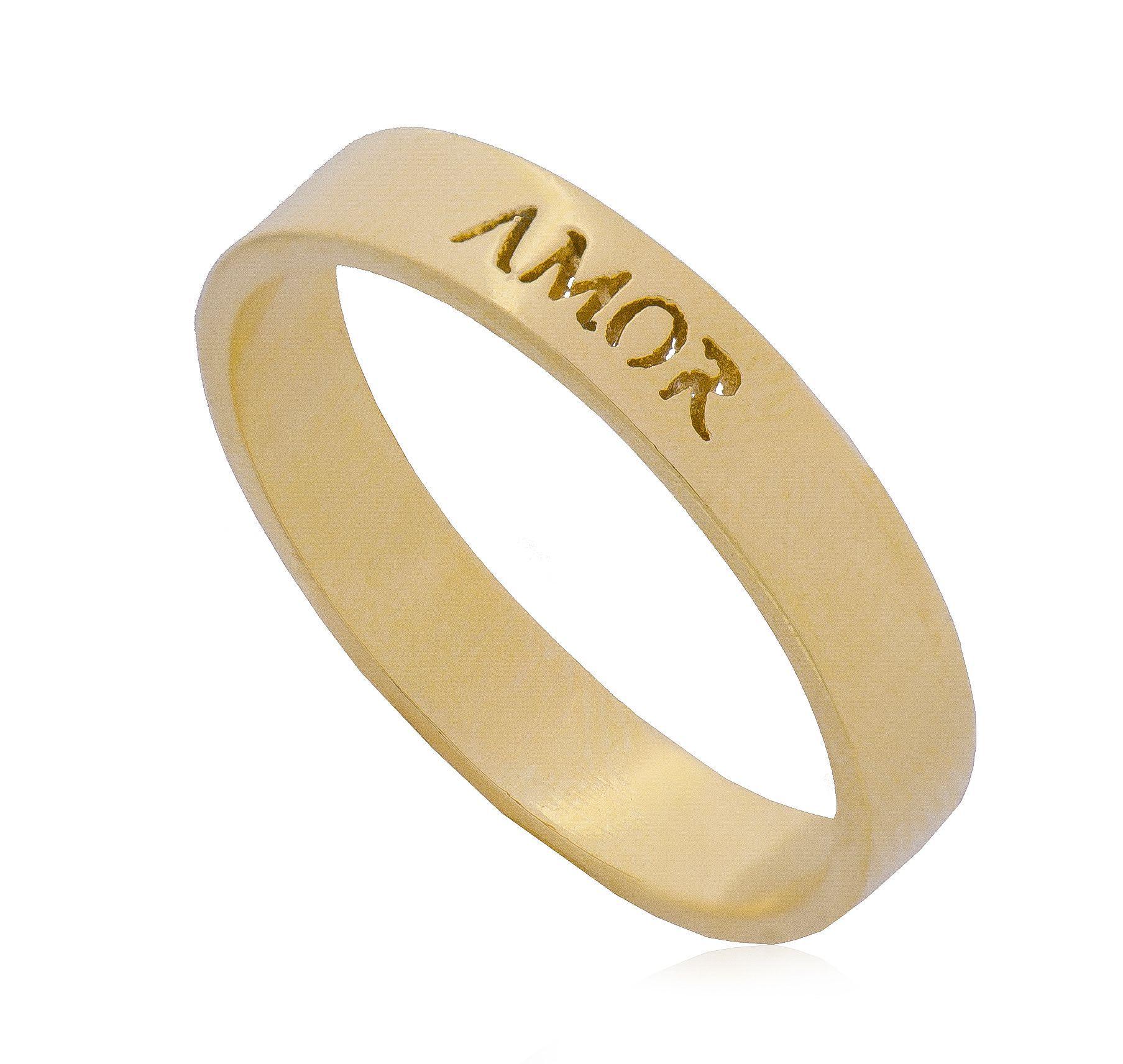 Anel Amor Banho Ouro 18k - Giro Semijoias
