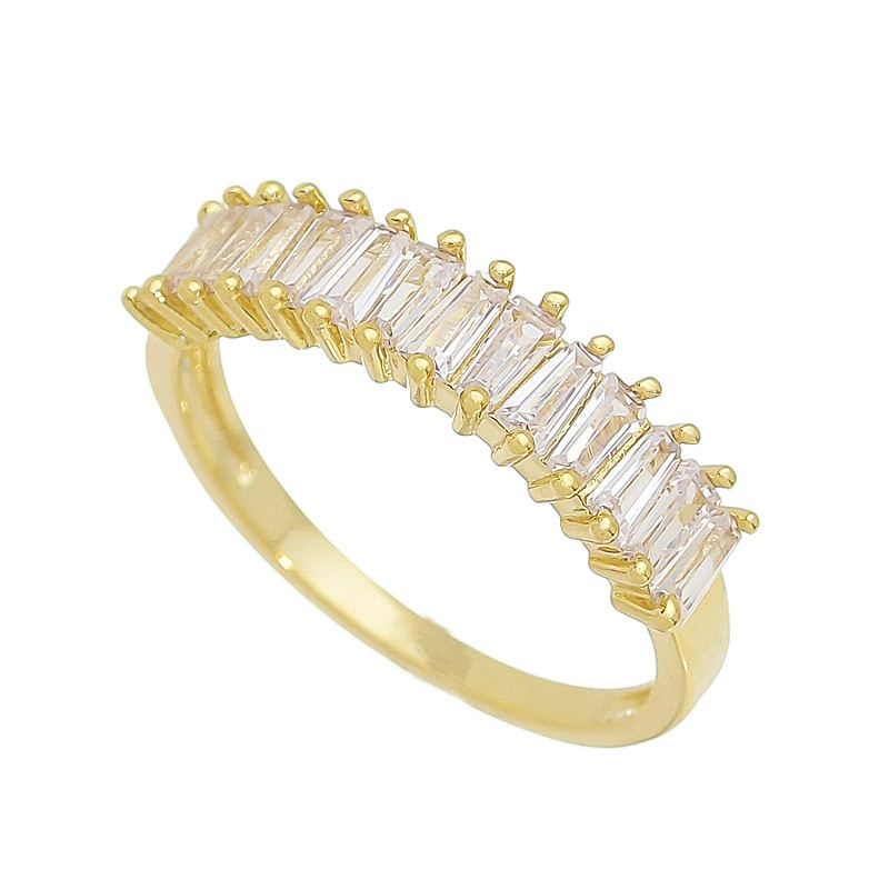 Anel Baguete com Pedra Cristal Banho Ouro 18k - Giro Semijoias