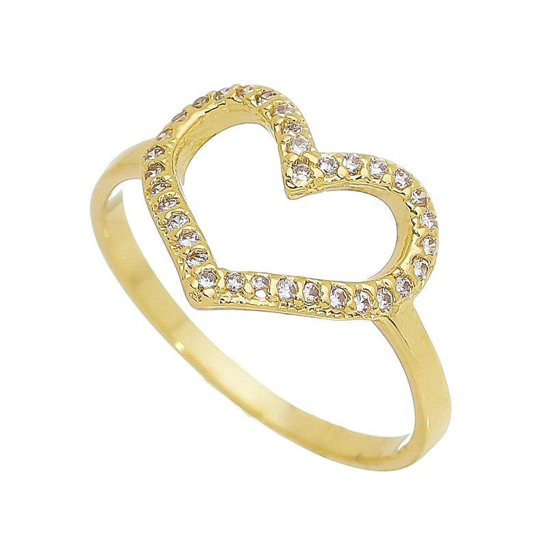 Anel com Coração Vazado e Pedras Zircônias Banho Ouro 18k - Giro Semijoias