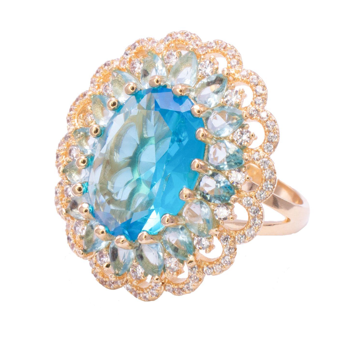 Anel com Cristal Azul e Pedras em Navete com Zircônias Folheado em Ouro 18k