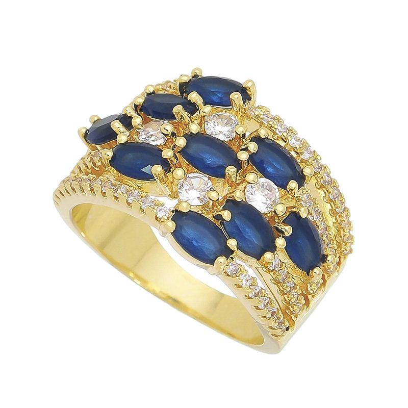 Anel com Cristal Azul/Navete Zircônia Incolor Banho Ouro 18k
