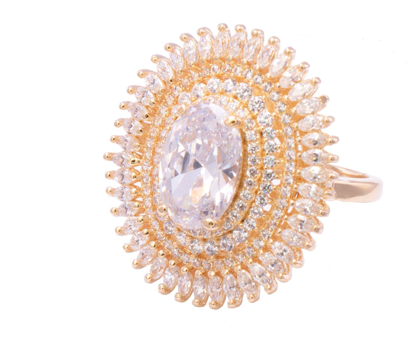 Anel com Cristal e Pedra Zircônia Incolor Banho Ouro 18k - Giro Semijoias