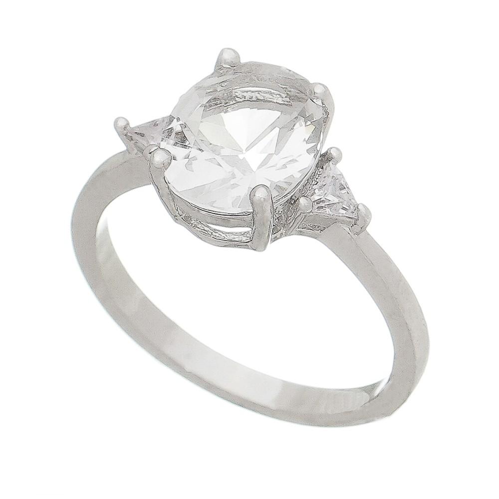 Anel com Cristal e Triângulo de Pedra Zircônia Ródio Branco - Giro Semijoias