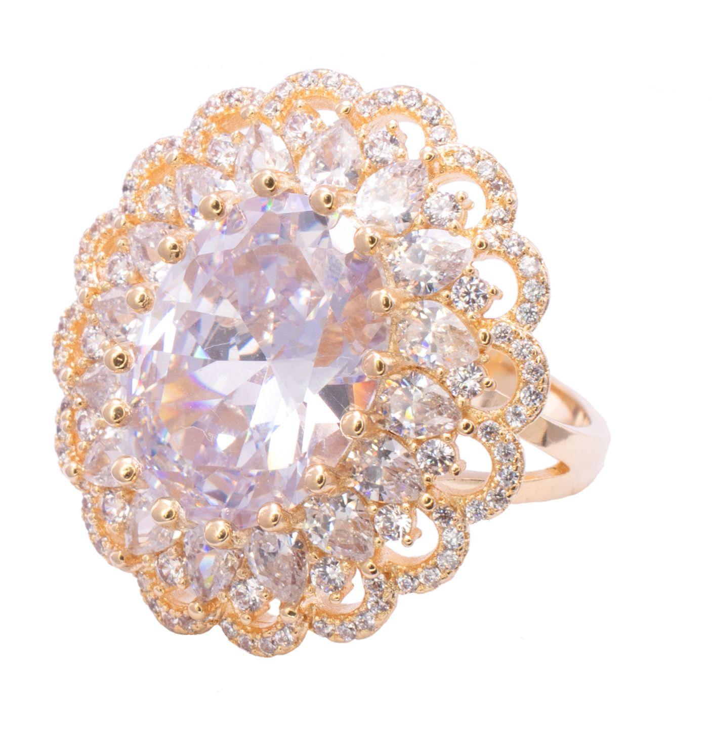 Anel com Cristal Incolor e Pedras em Navete com Zircônias Folheado em Ouro 18k