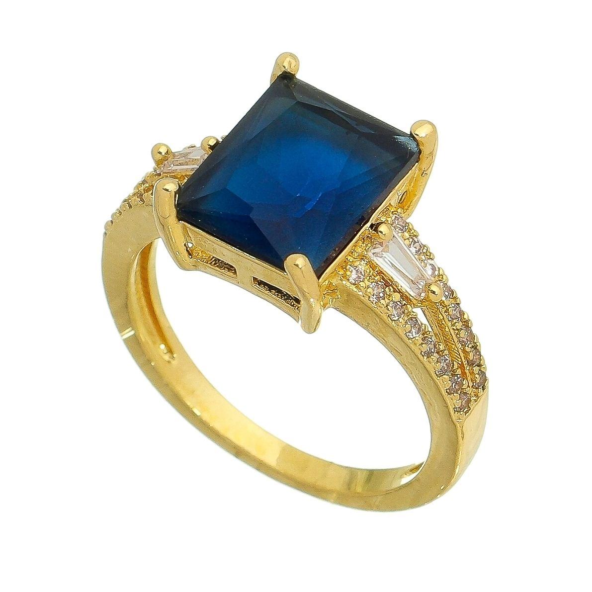 Anel com Cristal Quadrado Azul e Pedras Zircônias Ouro 18k
