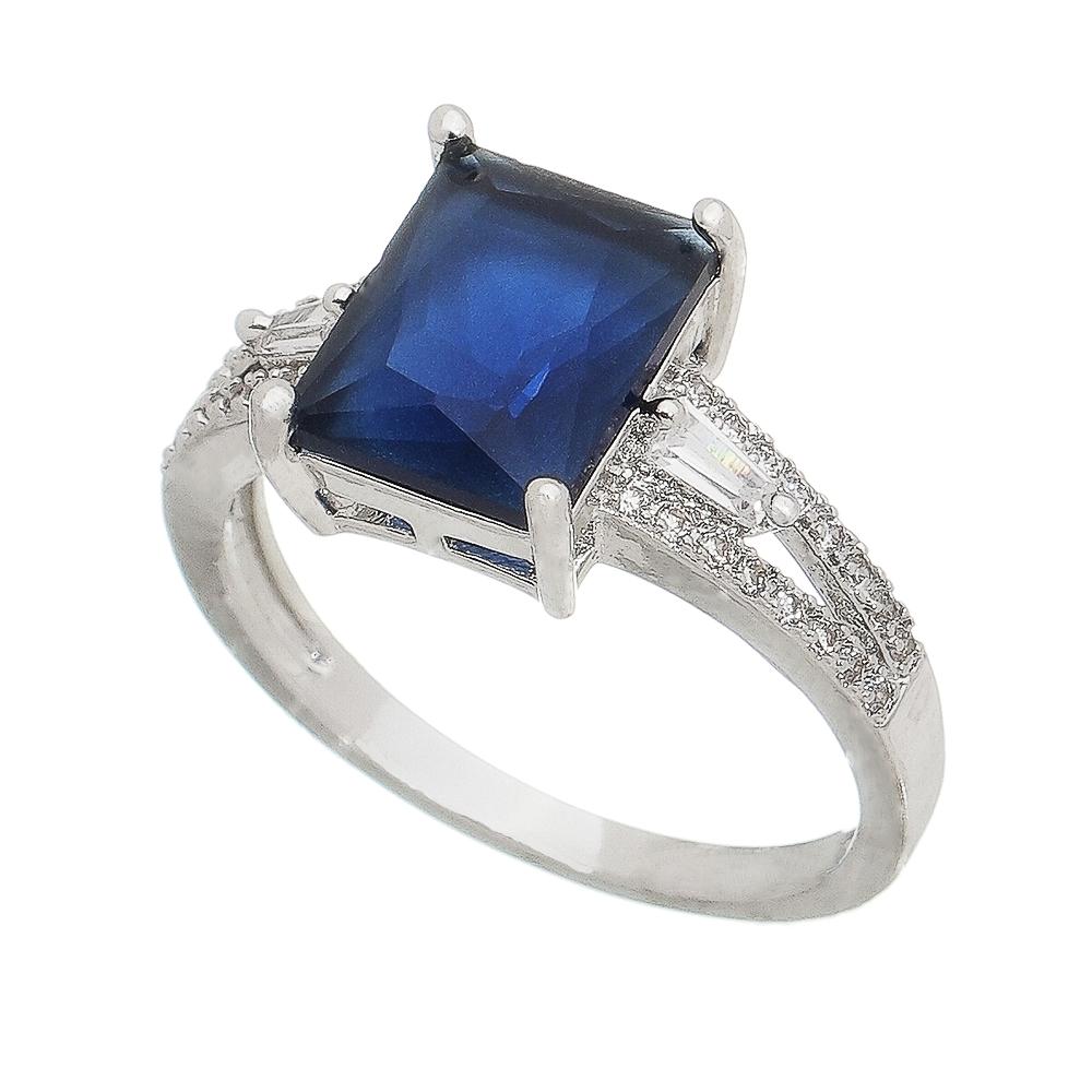 Anel com Cristal Quadrado Azul e Pedras Zircônias Ródio Branco