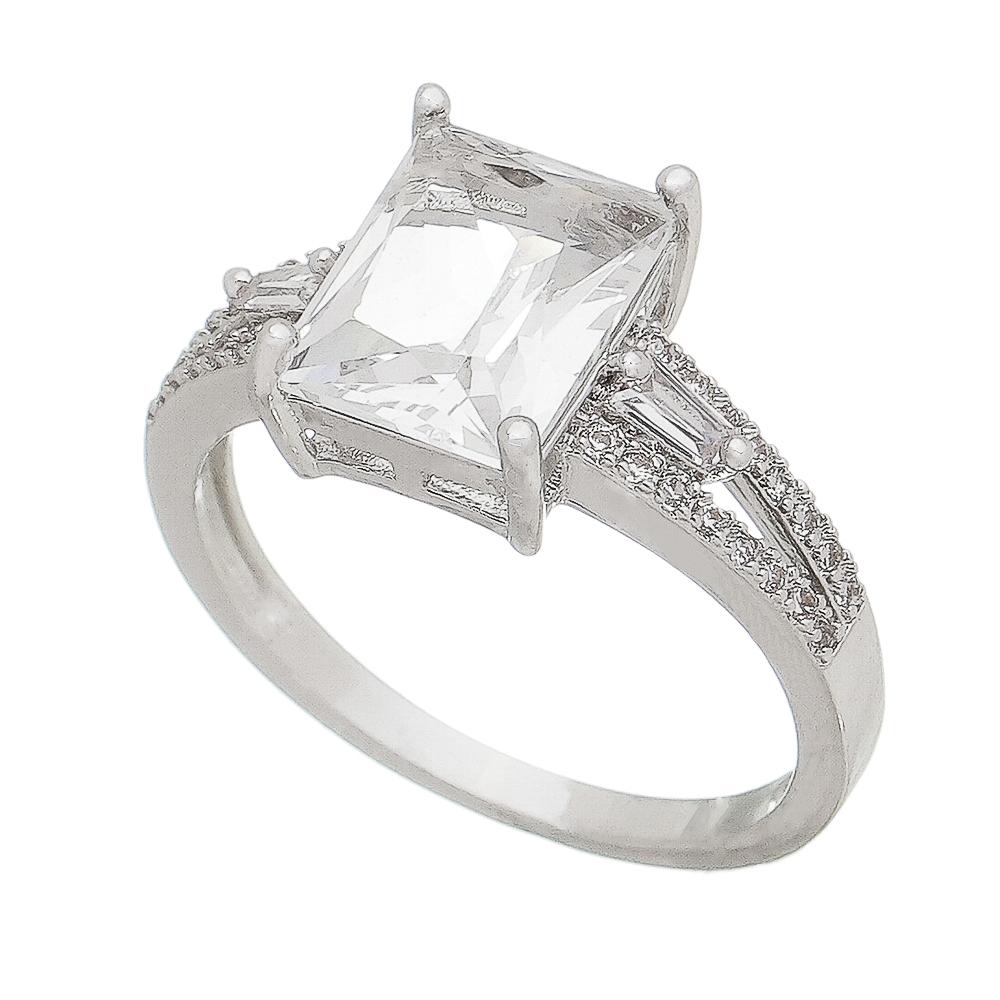 Anel com Cristal Quadrado e Pedras Zircônias Ródio Branco