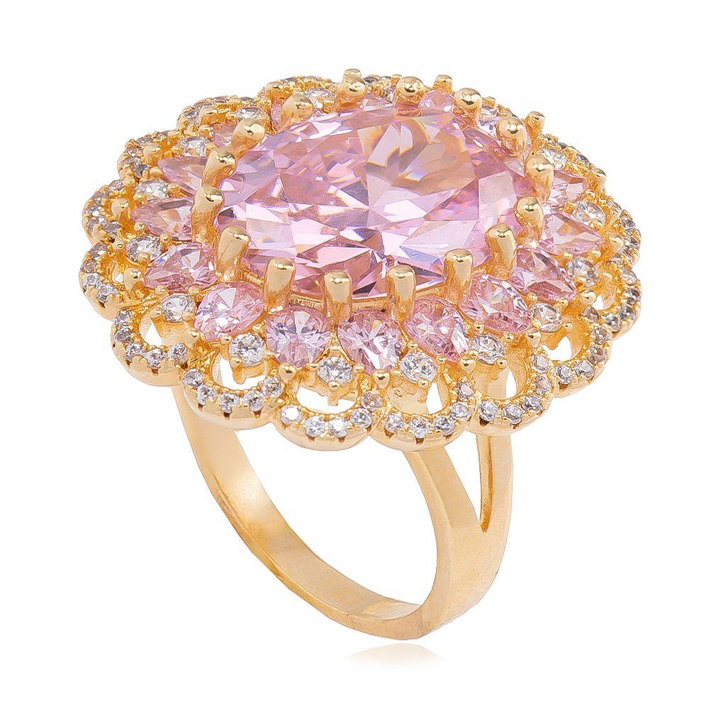 Anel com Cristal Rosa e Pedras em Navete com Zircônias Folheado em Ouro 18k