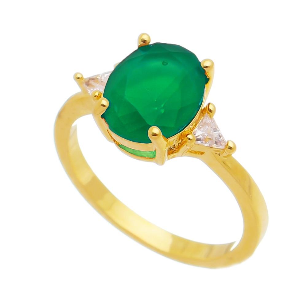 Anel com Cristal Verde e Pedra Zircônia Banho Ouro 18k
