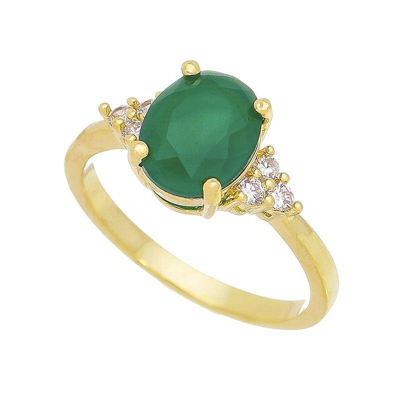 Anel com Cristal Verde e Pedras Zircônias Banho Ouro 18k