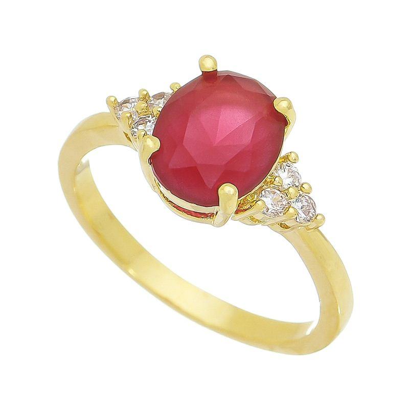 Anel com Cristal Vermelho e Pedras Zircônias Banho Ouro 18k
