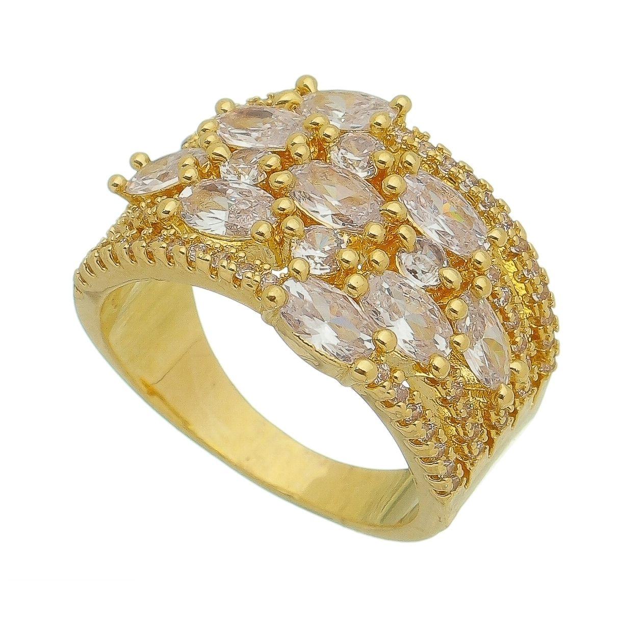 Anel com Navete Zircônia/Cristal Incolor Banho Ouro 18k