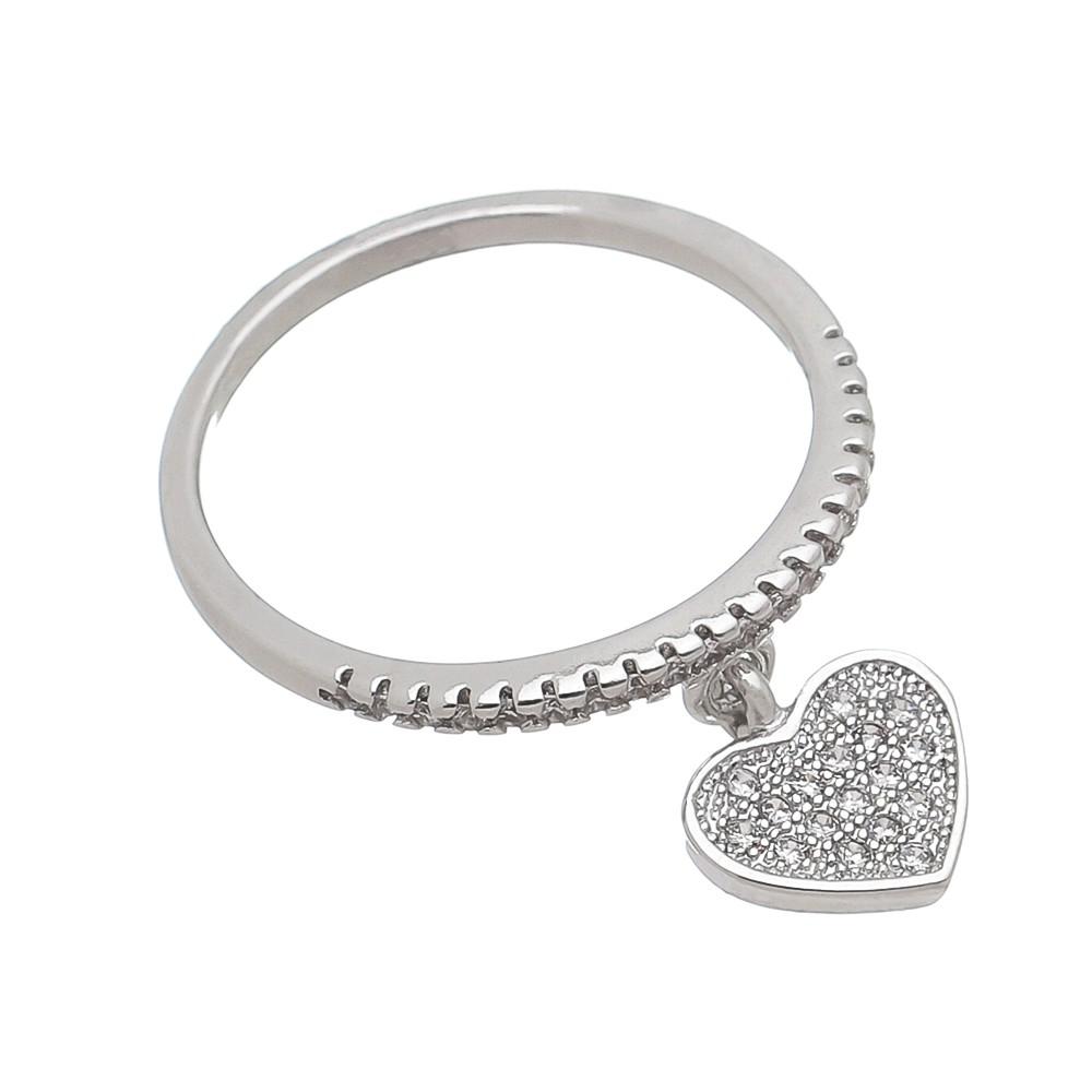 Anel com Pingente de Coração com Pedras Zircônias Folheado em  Ródio Branco - Giro Semijoias