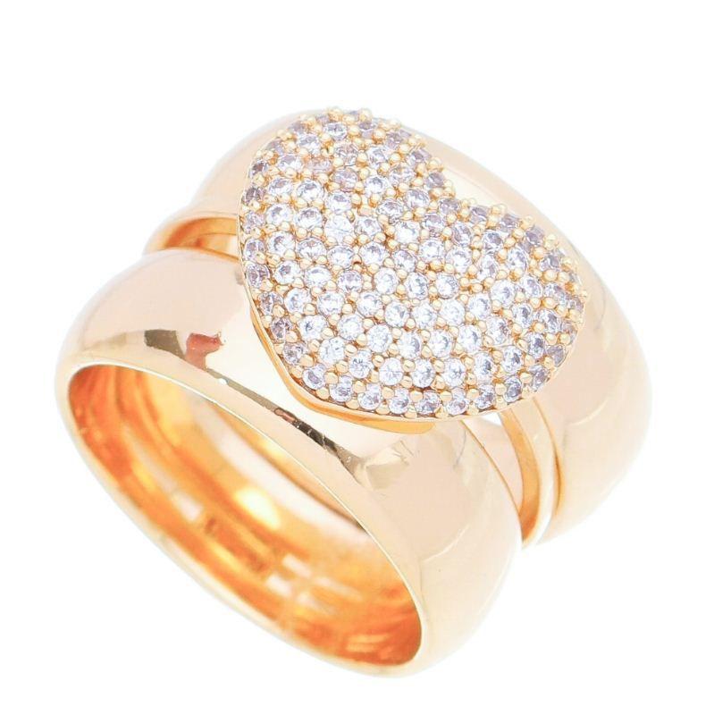 Anel Conjunto Coração com Pedra Zircônia Banho Ouro 18k - Giro Semijoias