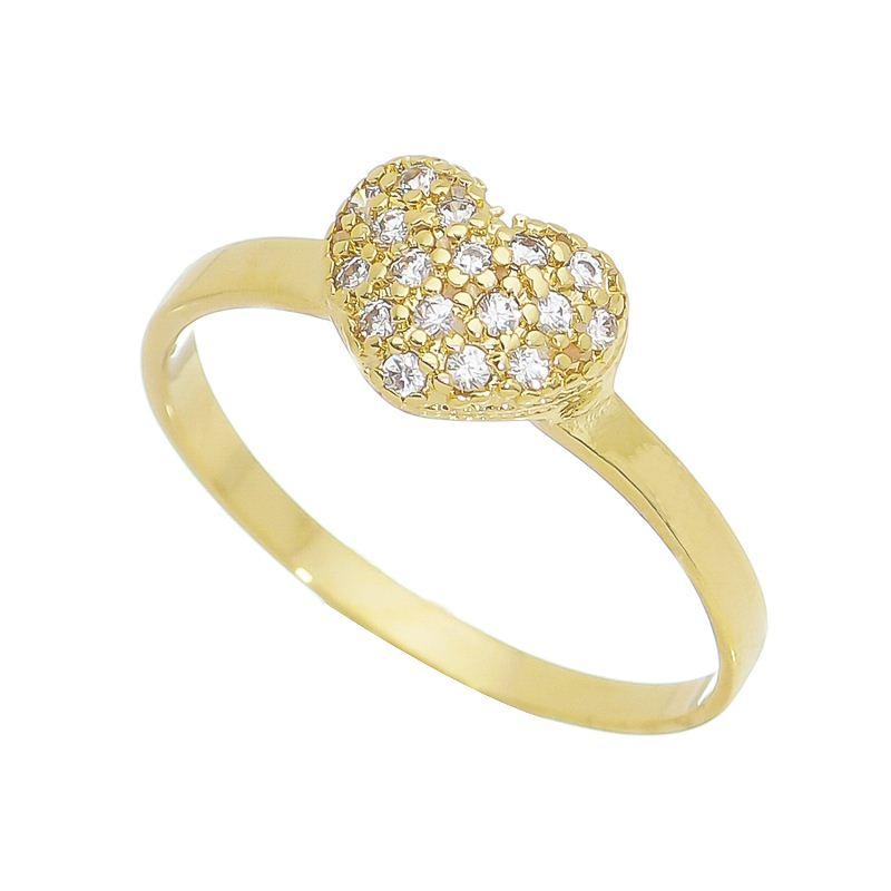 Anel Coração com Pedras Zircônias Banho Ouro 18k - Giro Semijoias