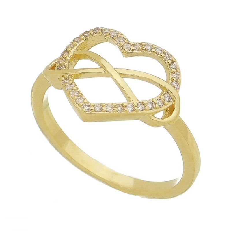 Anel Coração Infinito com Pedra Zircônia Ouro 18K - Giro Semijoias