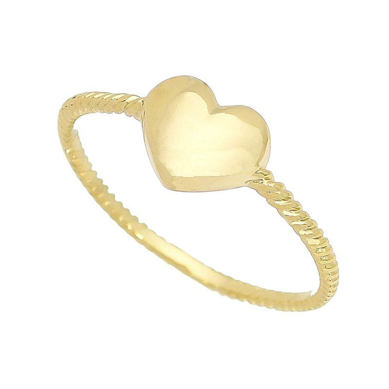 Anel Coração Liso Aro Trançado Folheado em Ouro 18k