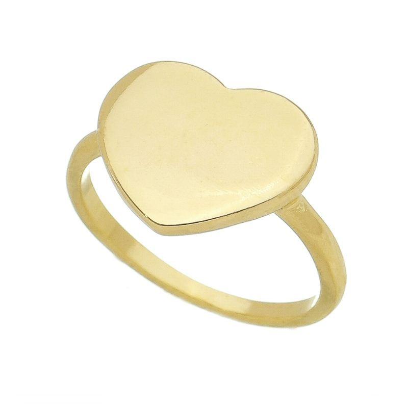 Anel Coração Liso Folheado em Ouro 18k - Giro Semijoias