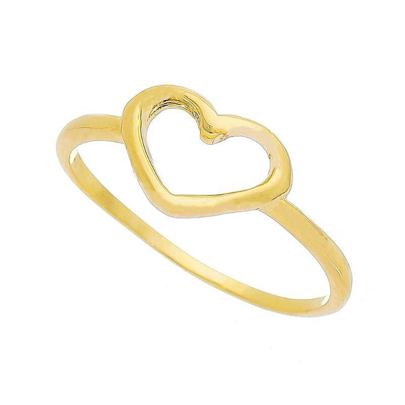 Anel Coração Liso Vazado Banho Ouro 18k - Giro Semijoias