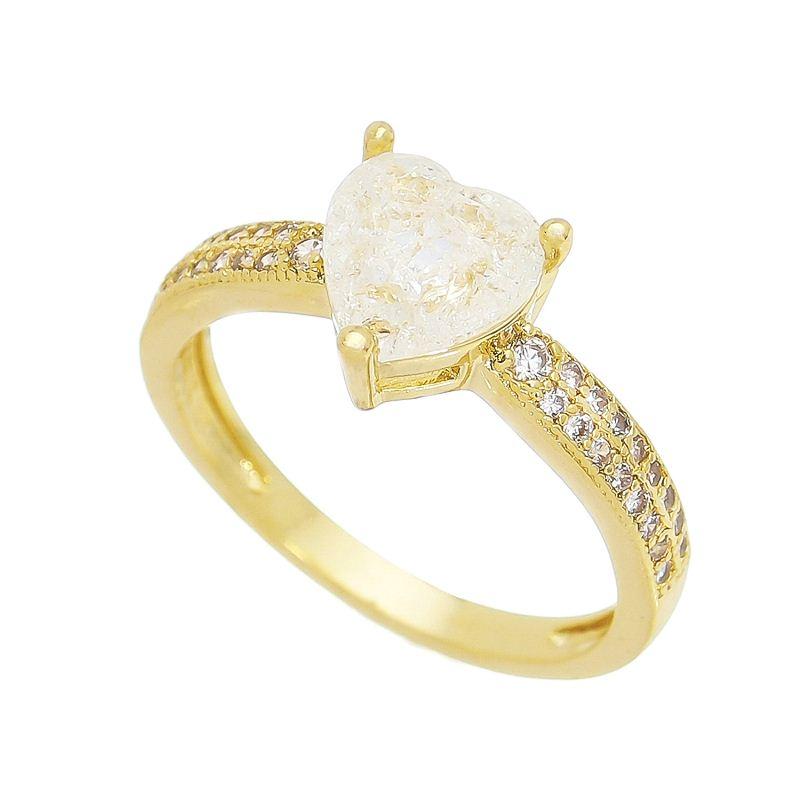 Anel Coração Pedra Fusion Aro com Pedra Zircônia Banho Ouro 18k