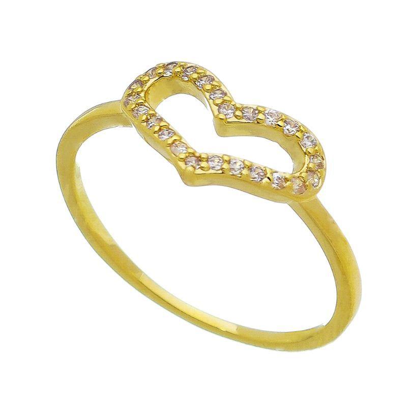 Anel Coração Vazado com Pedra Zircônia Banho Ouro 18k - Giro Semijoias