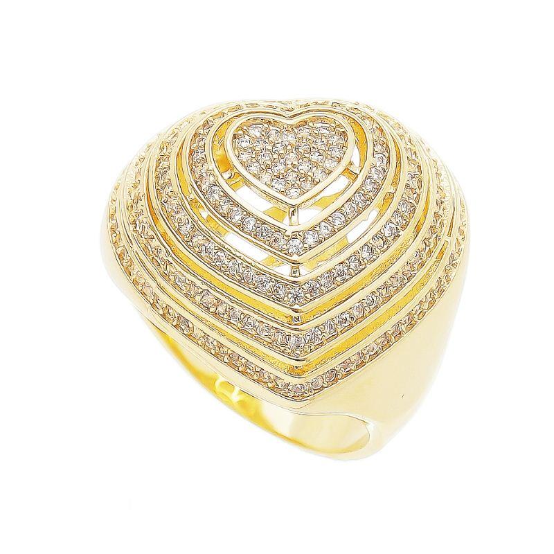 Anel Coração Vazado em Fatias com Pedra Zircônia Folheado em  Ouro 18k - Giro Semijoias