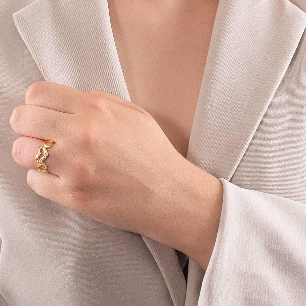Anel Corações com Coração Cravejado em Zircônias Folheado Ouro 18k