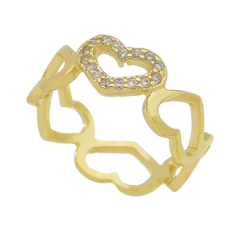 Anel Corações com Coração Cravejado em Zircônias Folheado Ouro 18k - Giro Semijoias